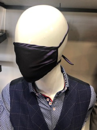Dark Purple Solid Mask tie back with pocket