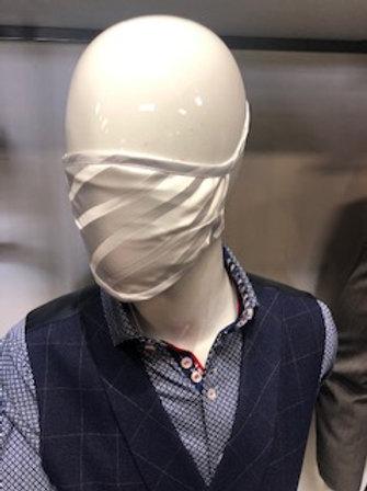 White stripe Mask tie back with pocket