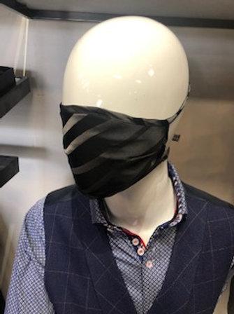 Black Stripe Mask tie back with pocket