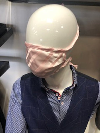 Pink Stripe Mask tie back with pocket