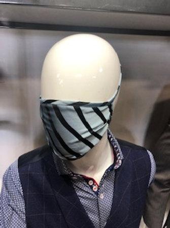 Blue and Black Stripe Mask tie back with pocket