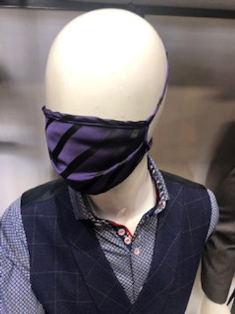 Purple and black Mask tie back with pocket