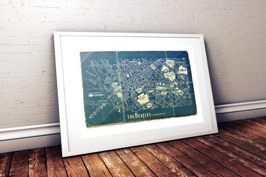 'THE BEATLES' LIVERPOOL BLUEPRINT MAP