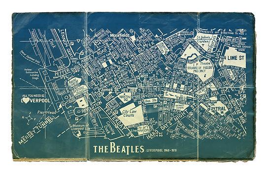 Beatles Map Blueprint 70 x 50cm 300 dpi