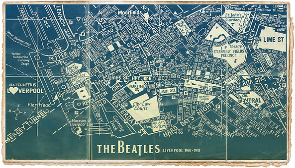 Beatles Map Blueprint 70 x 40cm 300 dpi