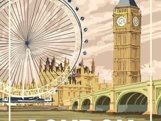 London Vintage Glass Poster