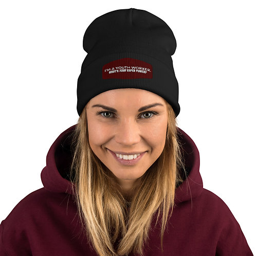I'm a Youth Worker.  What's Your Super Power? Embroidered Beanie
