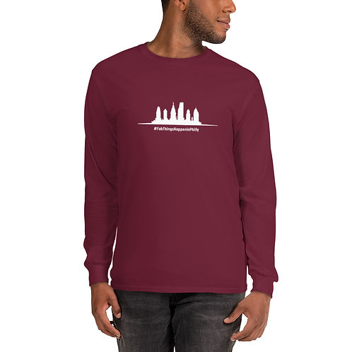 Fab Things Happen in Philly White Skyline Men's Long Sleeve Shirt