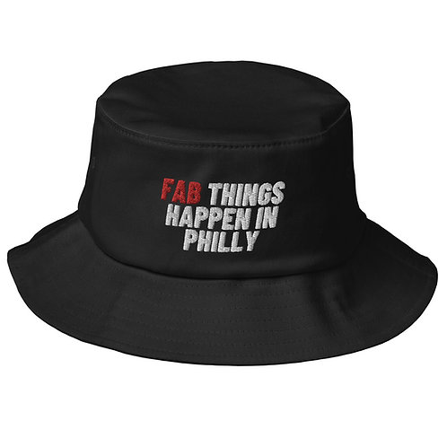 Red Fab Things Happen in Philly Old School Bucket Hat