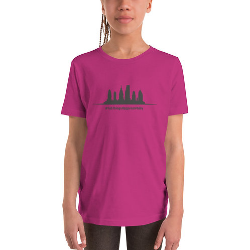 Fab Things Happen in Philly Gray Skyline Youth Short Sleeve T-Shirt