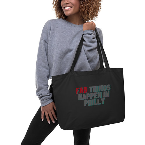 Red Fab Things Happen in Philly Large organic tote bag