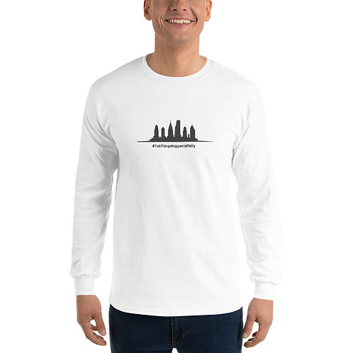 Fab Things Happen in Philly Gray Skyline Men's Long Sleeve Shirt