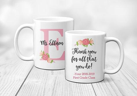 Teacher Appreciation Monogram Mug