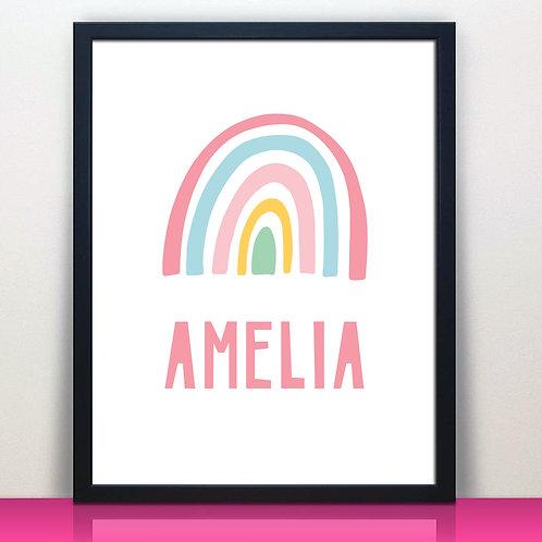 pink pastel rainbow print for girls room