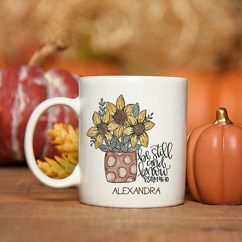 Personalized Psalm 46:10 Fall Coffee Mug