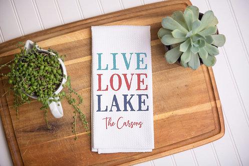 multicolored lake towel