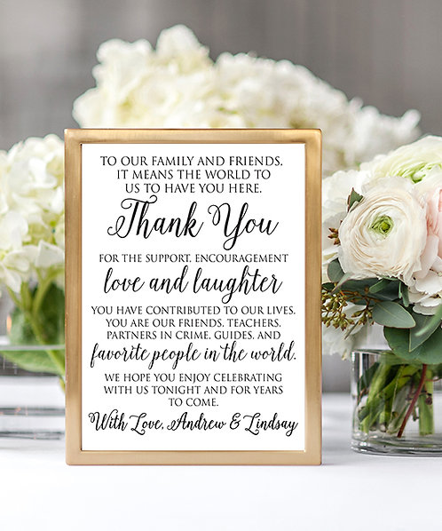 Personalized Thank You Wedding Sign