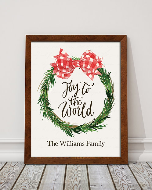personalized Joy to the world Christmas print