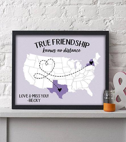 personalized long distance friends print