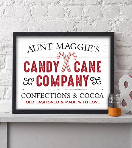 personalized candy cane company print