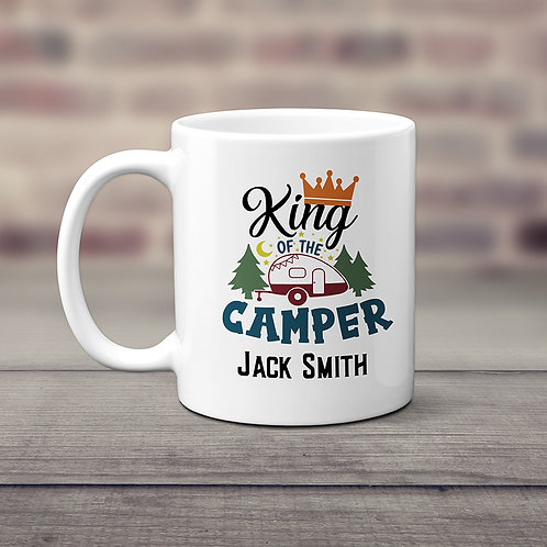 personalized king of the camper coffee cup