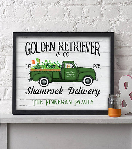 golden retriever & co shamrock delivery rustic holiday print