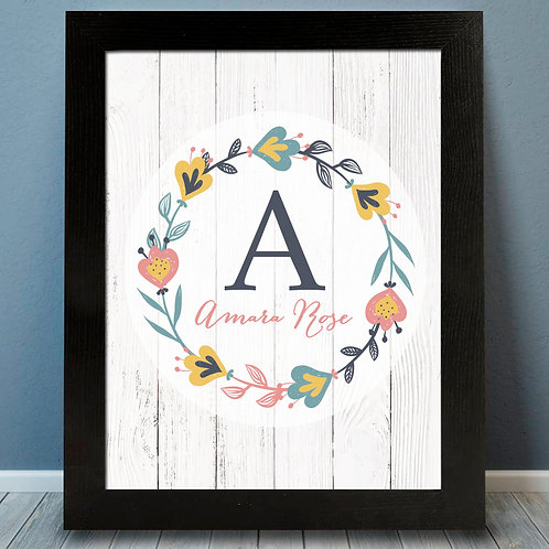 Flower Wreath Monogram Print for a girl
