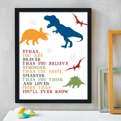 loved more than you ever know dinosaur print