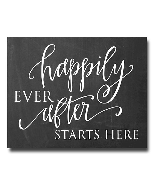 Happily Ever After Starts Here Chalkboard Print