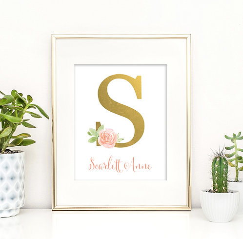 Modern Floral Gold Monogram Print, Perfect Gift for a girl