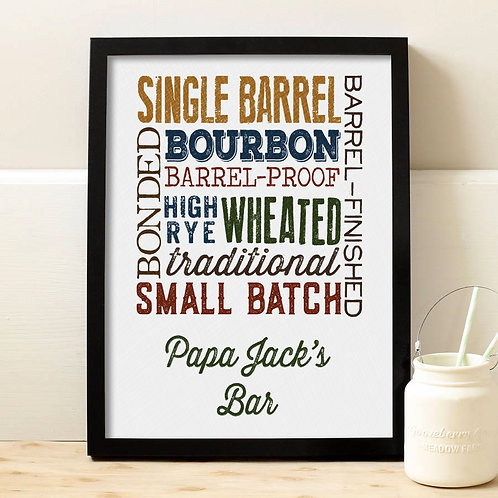 types of bourbon collage wall print