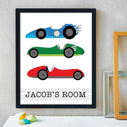 colorful race car print