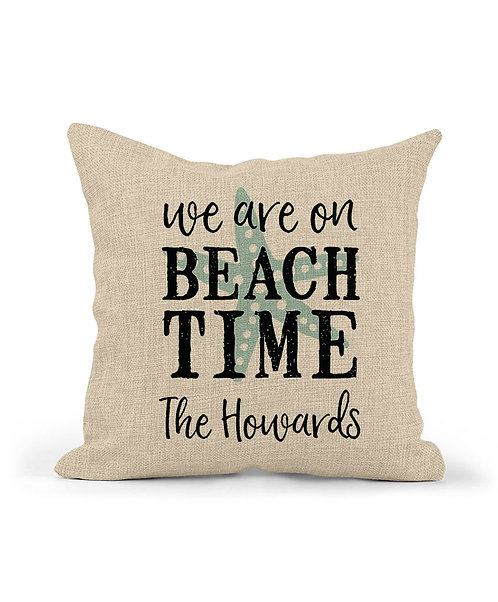 personalized we are on beach time pillow