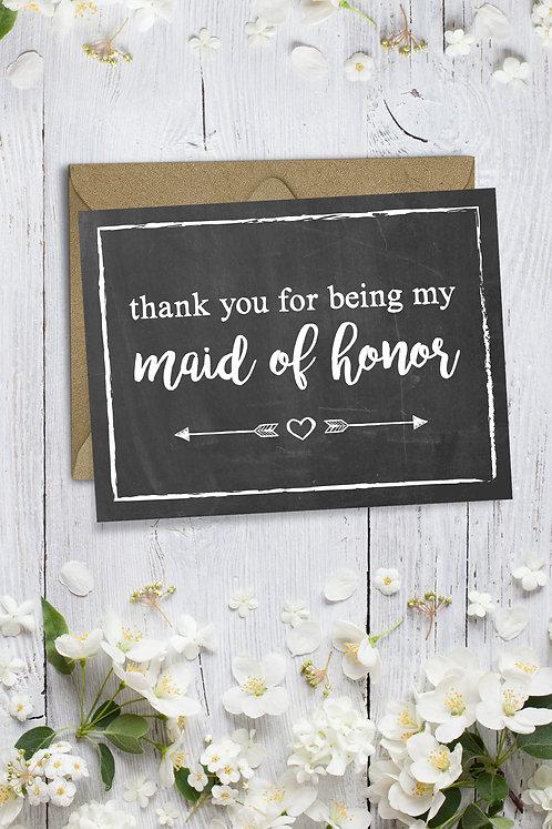 MOH chalkboard wedding card