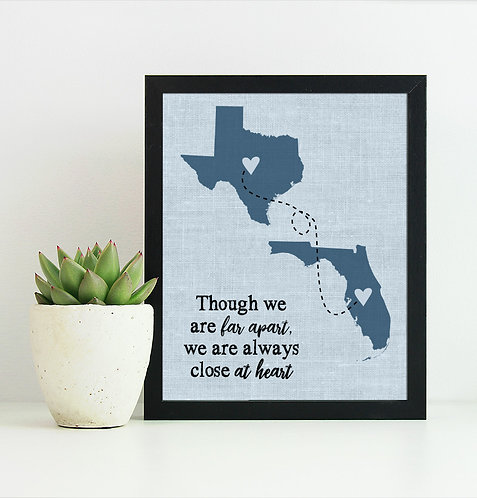 blue two state long distance map print