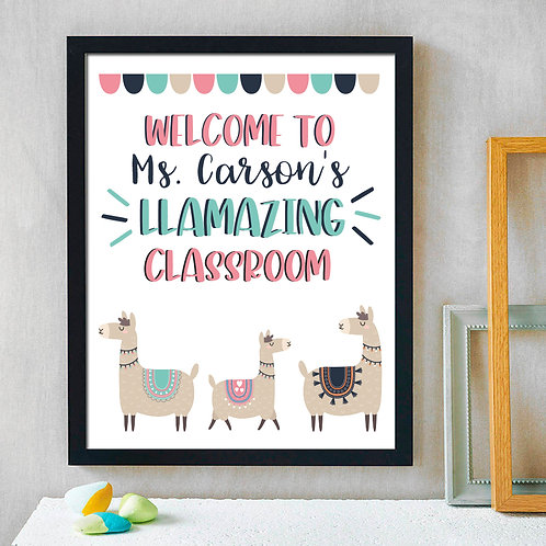personalized llamazing classroom print