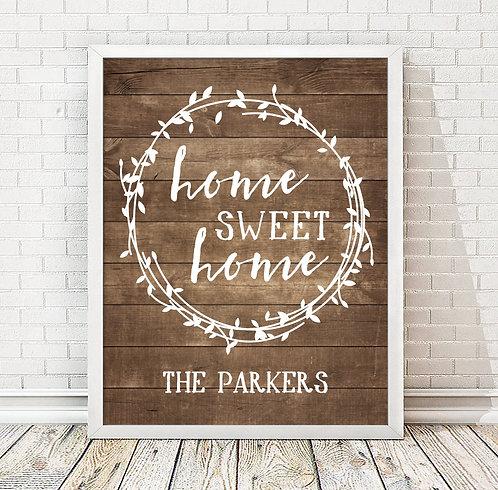 Rustic Wood Home Sweet Home Print