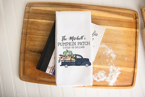 blue truck rustic country kitchen towel