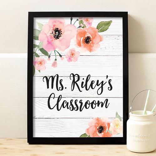 Floral Teacher Classroom Sign