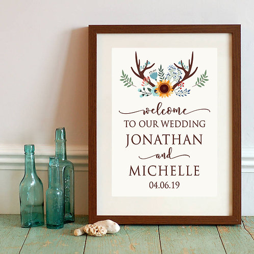 antlers welcome to the wedding print