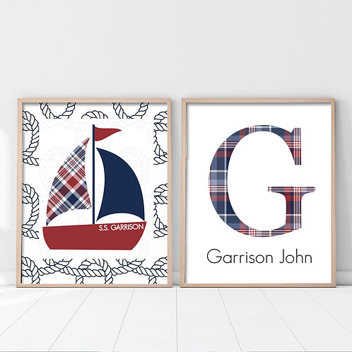 set of two prints with plaid monogram and sailboat