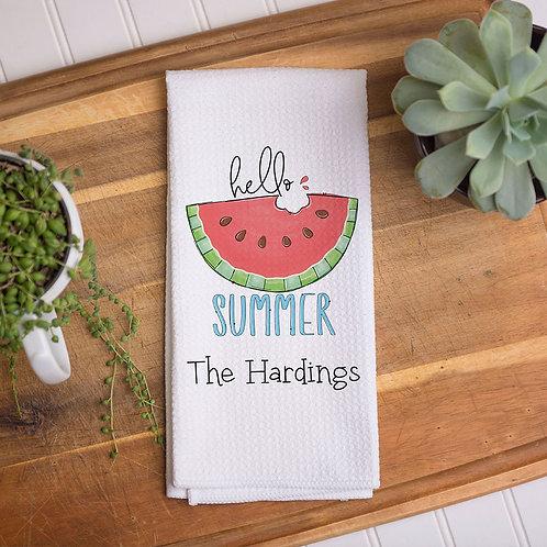 hello summer watermelon kitchen towel