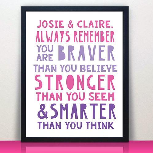 pink and purple motivational kids print