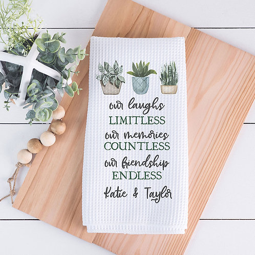 personalized our endless friendship kitchen towel