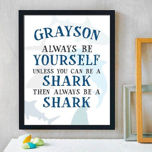 personalized be a shark theme bedroom decor