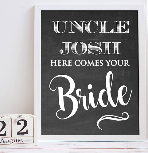 Here comes the bride wedding day print chalkboard