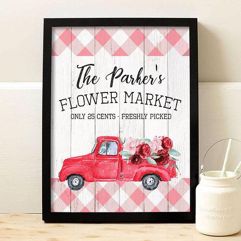 Pink Flower Market Print