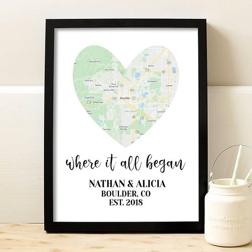 map print inside of heart for couples