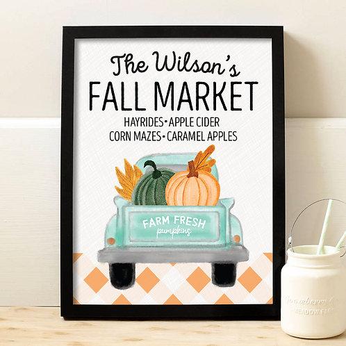 Personalized Fall Market Seasonal Print