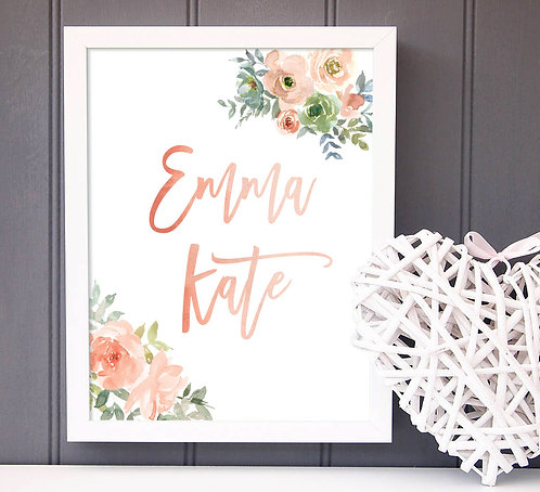 personalized floral name print for girls room